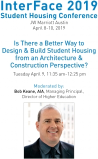 Bob Keane to Speak at InterFace Student Housing Conference 2019